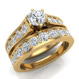Riviera 14K Wedding Rings for Women Bridal Set Round Cut 1.80 carat 14K Gold (I, I1) - Yellow Gold