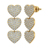 Heart Diamond Chandelier Earrings Waterfall Style 14K Gold (I,I1) - Yellow Gold