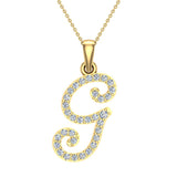 Initial Necklace G Letter charms Diamond pendant necklace 18K Gold (G,VS) - Yellow Gold