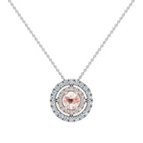 Round Cut Pink Morganite Double Halo 2 tone necklace 14K Gold (G,SI) - Rose Gold