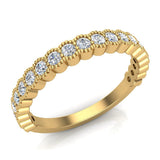 Stacking Milgrain Luscious Round Diamond Wedding Band or Anniversary Band 0.53 ctw 18K Gold (G,SI) - Yellow Gold