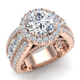 Moissanite Engagement Rings 14K Gold Real Diamond accented Ring Channel Set 4.90 carat tw (I,I1) - Rose Gold