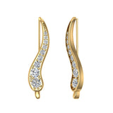 Pave Set Vines Ear Climber Earrings 18k Gold (G,VS) - Yellow Gold