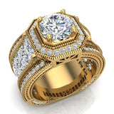 Large  Moissanite Engagement Ring 14K Gold Halo Rings for women 7.30 mm 6.35 carat (I,I1) - Yellow Gold