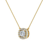 Cushion Halo Diamond Necklace 14K Gold (G,I1) - Yellow Gold