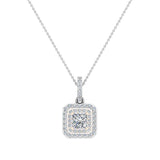 Princess Cut Diamond Cut Cornered Double Halo 2 tone Necklace 14K Gold (G,SI) - Rose Gold