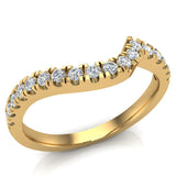 Waves Style Split Shank Diamond Halo Engagement Band 0.27 carat total 14K Gold (I,I1) - Yellow Gold