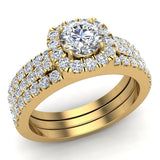 Round Cut Cushion Halo Ring Set w/ Enhancer Bands 1.33 Carat Total Weight 14K Gold (G,I2) - Yellow Gold