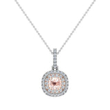Round Cut Pink Morganite Cushion Double Halo 2 tone necklace 14K Gold (I,I1) - Rose Gold