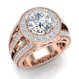 Large Moissanite Engagement Ring Real Accented Diamond Ring 14K Gold 8.00 mm 3.50 carat tw (G,SI) - Rose Gold
