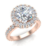 Moissanite Engagement rings 14K Gold Halo Rings for women 3.35 carat (G,SI) - Rose Gold