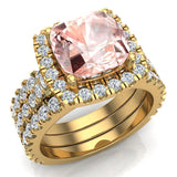 Wedding Ring Set for Women Cushion cut Morganite Halo Diamond Ring 18K Gold 3.85 carat (G,VS) - Yellow Gold