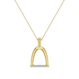 Horse Stirrup Diamond Necklace for Women 14k Gold 0.16 ct tw - Horse Accessories (I,I1) - Yellow Gold