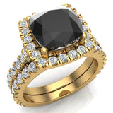 14K Gold Wedding Ring Set for Women Cushion Cut Black Diamond Halo Rings 3.28 carat (G,SI) - Yellow Gold