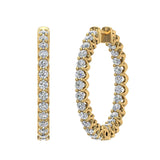 Exquisite 25.99 mm Diameter Inside Out Diamond Hoop Earrings 1.90 ctw 18K Gold Shared Prong Setting (G,SI) - Yellow Gold