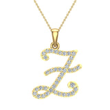 Initial Necklace Z Letter charms Diamond pendant necklace 18K Gold (G,VS) - Yellow Gold