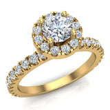 Petite Engagement rings for women Round Brilliant Halo diamond ring 18K Gold 1.05 carat (G,VS) - Yellow Gold