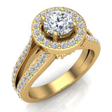 Exquisite Round Diamond Halo Split Shank Engagement Ring 1.35 ctw 14K Gold (G,I1) - Yellow Gold