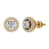 Exquisite Classic Diamond Halo Stud Earrings 14K Gold 4.00 mm Center (I,I1) - Yellow Gold