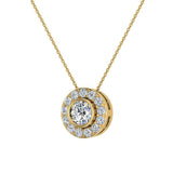 Round Diamond Halo Pendant Bezel Setting 14K Gold (I,I1) - Yellow Gold