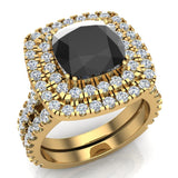 Black Diamond Cushion Cut Double Halo Diamond wedding rings for women 14K Gold 3.80 ctw (I,I1) - Yellow Gold