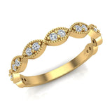 Magnificent Stacking Infinity Style Milgrain Round Diamond Wedding or Anniversary Band 0.27 ctw 14K Gold (I,I1) - Yellow Gold