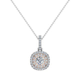 Round Brilliant Diamond Cushion Double Halo 2 tone necklace 14K Gold (G,SI) - Rose Gold