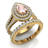 Pear Cut Pink Morganite Double Halo Wedding Ring Set 14K Gold (G,SI) - Yellow Gold