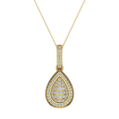 1.00 ct tw Pear Drop-Shape Diamond Necklace 14K Gold (G,SI) - Yellow Gold