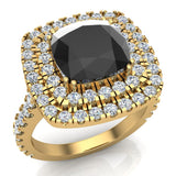 Black Diamond Cushion Cut Double Halo Diamond engagement rings for women 14K Gold 3.00 ctw (G,SI) - Yellow Gold