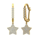 Star Diamond Dangle Earrings Dainty Drop Style 14K Gold 0.73 ctw (I,I1) - Yellow Gold