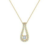 0.46 ct tw Teardrop Halo Diamond Necklace 14K Gold (G,SI) - Yellow Gold