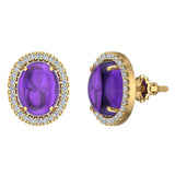 4.34 ct tw Amethyst & Diamond Cabochon Stud Earring In 14k Gold (G, I1) - Yellow Gold