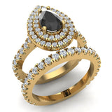 Pear Cut Black Diamond Double Halo Wedding Ring Set 18K Gold (G,VS) - Yellow Gold