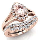Morganite Engagement Ring - Wedding Ring Set for Women 18K Gold 8 mm Pear Shape (G, SI) - Rose Gold