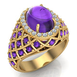 Cabochon Amethyst & Diamond Cocktail Ring Halo Style Dome Shape Fashion Ring 2.93 Carat Total Weight 18K Gold - Yellow Gold
