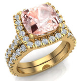 Pink Morganite Cushion Cut Halo Diamond wedding rings for women 18K Gold 3.28 ctw (G,VS) - Yellow Gold