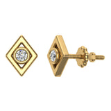 Diamond Earrings Kite Shape Studs Bezel Settings 10K Gold (J,SI2-I1) - Yellow Gold