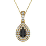 Pear Cut Black Diamond Double Halo Diamond Necklace 14K Gold (I,I1) - Yellow Gold
