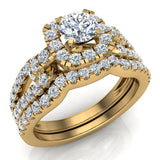 Wedding Ring Set for Women Accented Diamond Loop Shank 1.00 - 1.05 ctw Carat 18K Gold (G,VS) - Yellow Gold