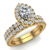 Petite Wedding rings for women Marquise Cut Halo Bridal Set 14K Gold 1.55 carat (I, I1) - Yellow Gold