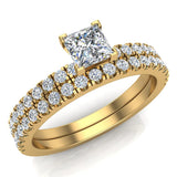 Petite Wedding Rings for women Princess Cut Bridal set 14K Gold 0.90 carat (I, I1) - Yellow Gold