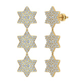 Star of David Diamond Cluster Chandelier Earrings Waterfall Style 14K Gold (G,SI) - Yellow Gold
