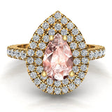 Pear Cut Pink Morganite Double Halo Engagement Ring 18K Gold (G,VS) - Yellow Gold