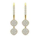 Cushion Diamond Dangle Earrings Dainty Drop Style 18K Gold 1.10 ctw (G,VS) - Yellow Gold