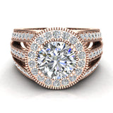 Large Moissanite Engagement Ring Real Accented Diamond Ring 14K Gold 7.30 mm 2.80 carat tw (G,SI) - Rose Gold
