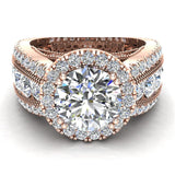 Moissanite Engagement Rings 14K Gold Real Diamond accented Ring Channel Set 4.90 carat tw (G,SI) - Rose Gold