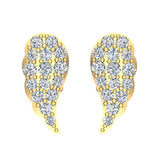 Angel Wing Pave Diamond Cluster Stud Earrings 0.50 ctw 18K Gold (G,VS) - Yellow Gold
