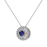 Round Cut Blue Sapphire Double Halo 2 tone necklace 14K Gold (I,I1) - Rose Gold