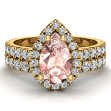 Pear Cut Pink Morganite Halo Wedding Ring Set 18K Gold (G,VS) - Yellow Gold